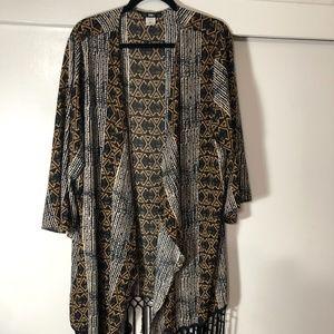 ING Plus Size Fringe Chiffon Kimono Cardigan